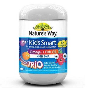 Kẹo dẻo bổ sung omega và DHA hàm lượng cao Nature's Way Kids Smart Omega 3 Dha Fish Oil High DHA của Úc lọ 180 viên