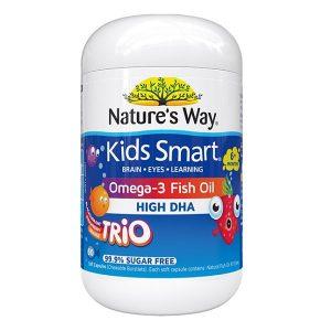 Dầu cá giàu omega 3 và DHA hàm lượng cao Nature's Way Kids Smart Omega 3 DHA Fish Oil High DHA của Úc lọ 60 viên