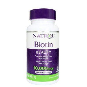 Viên uống hỗ trợ mọc tóc và giảm tóc gãy rụng Natrol Biotin Beauty 10000 mcg của Mỹ lọ 100 viên