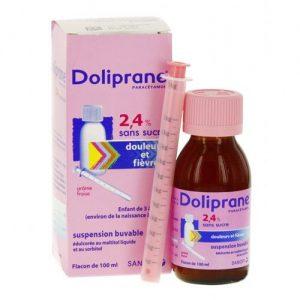 Siro hạ sốt Doliprane 2,4% sans sucre của Pháp cho trẻ sơ sinh và trẻ nhỏ chai 100ml