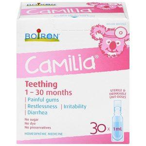 Siro giảm đau tức lợi khi mọc răng Boiron Camilia Teething của Canada cho trẻ từ 1 đến 30 tháng tuổi hộp 30 ống 1ml
