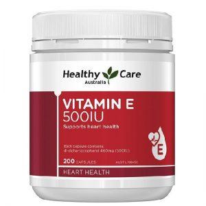 Viên uống bổ sung Vitamin E Healthy Care của Úc lọ 200 viên