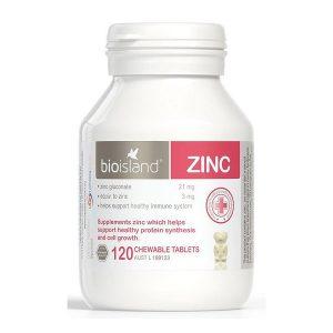 Viên nhai bổ sung kẽm Bioisland Zinc của Úc cho trẻ từ 1 tuổi lọ120 viên
