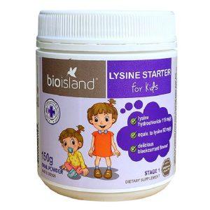 Bột tăng chiều cao Bio Island Lysine Starter Fore Kids của Úc cho trẻ từ 4 tuần đến 6 tuổi hộp 150g