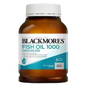 Dầu cá Blackmores Fish Oil 1000 Odourless của Úc lọ 400 viên