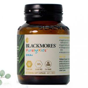 Viên nhai bổ sung DHA cho bé Blackmores Purely Kids DHA+ của Úc cho trẻ từ 3 đến 6 tuổi lọ 50 viên