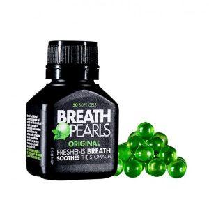Kẹo ngậm thơm miệng Breath Pearls Original Freshens Breath Soothes The Stomach của Úc lọ 50 viên