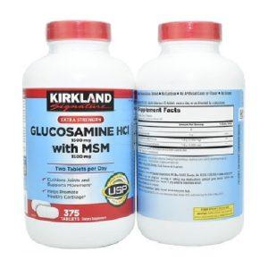 Viên uống bổ khớp Kirkland Signature Glucosamine HCL with MSM của Mỹ lọ 375 viên