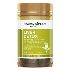 Viên uống giải độc gan Healthy Care Liver Detox của Úc lọ 100 viên