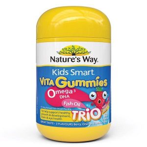 Kẹo dẻo bổ sung omega 3 và DHA Nature's Way Kids Smart Vita Gummies Omega 3 DHA Fish Oil của Úc Lọ 60 viên