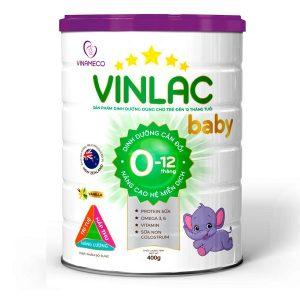 Sữa bột Vinlac Baby của Việt Nam cho bé từ 0 đến 12 tháng hộp 400g