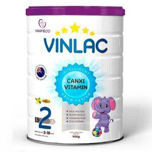 Sữa bột Vinlac số 2 của Việt Nam cho trẻ từ 3 đến 9 tuổi hộp 900g