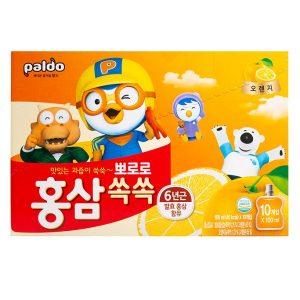 Nước uống hồng sâm Pororo vị cam của Hàn Quốc co trẻ từ 3 tuổi hộp 10 gói 100ml