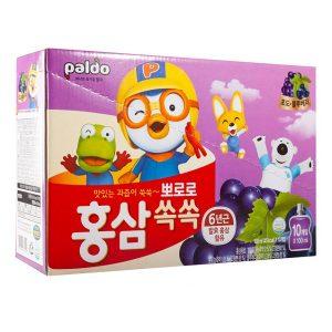 Nước uống hồng sâm Pororo vị nho của Hàn Quốc cho trẻ từ 3 tuổi hộp 10 gói 100ml