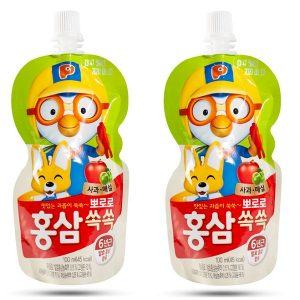 Nước uống hồng sâm Pororo vị táo của Hàn Quốc co trẻ từ 3 tuổi hộp 10 gói 100ml