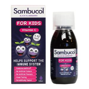 Siro tăng sức đề kháng Sambucol Black Elderberry Liquid For Kids + Vitamin C của Anh cho trẻ từ 1 đến 12 tháng lọ 120ml
