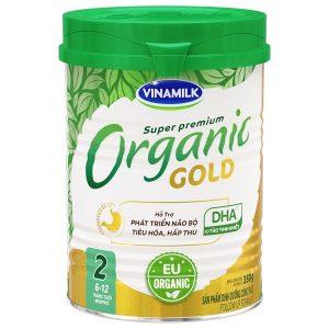 Sữa bột Vinamilk Super Premium Organic Gold số 2 của Việt Nam cho trẻ từ 6 đến 12 tháng hộp 350g