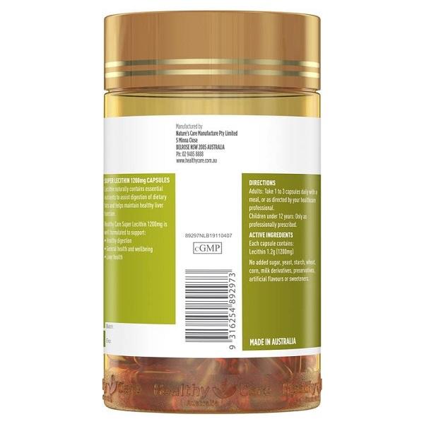 Viên uống mầm dầu đậu lành Healthy Care Super Lecithin 1200mg của Úc lọ 100 viên