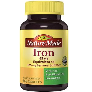 Viên uống bổ sung sắt Nature Made Iron 65mg của Mỹ lọ 365 viên