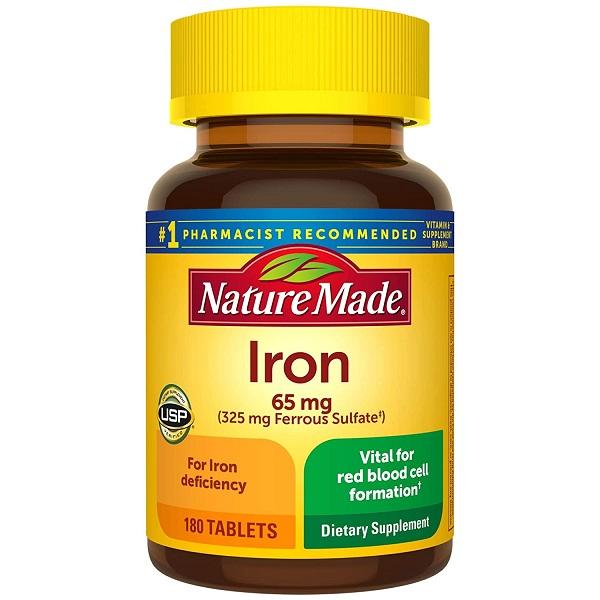 Viên uống bổ sung sắt Nature Made Iron 65mg của Mỹ lọ 180 viên