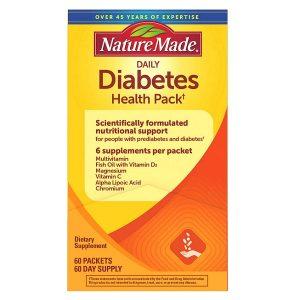 Viên uống điều hòa tiểu đường Nature Made daily Diabetes Health Pack của Mỹ hộp 60 gói