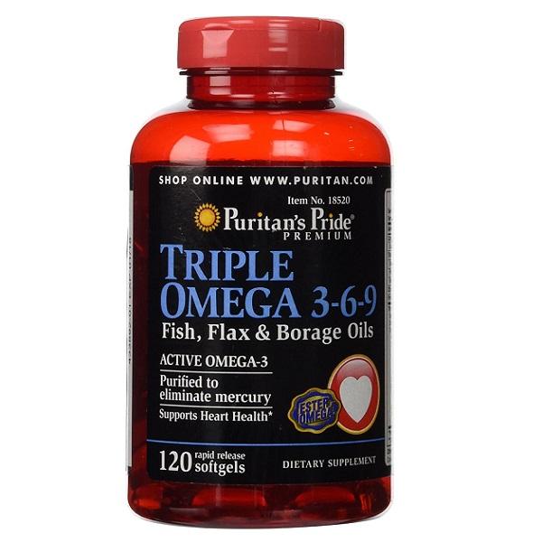 Viên uống hỗ trợ tim mạch Puritan's Pride Triple Omega 3-6-9 của Mỹ lọ 120 viên