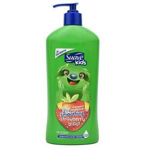 Sữa tắm gội xả Suave Kids 3 In 1 Smoothing Strawberry Blast hương dâu của Mỹ cho trẻ từ 2 tuổi chai 532ml
