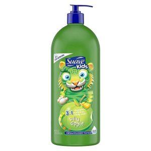 Sữa tắm gội xả Suave Kids 3 in 1 Silly Apple hương táo xanh của Mỹ cho trẻ từ 2 tuổi chai 532ml