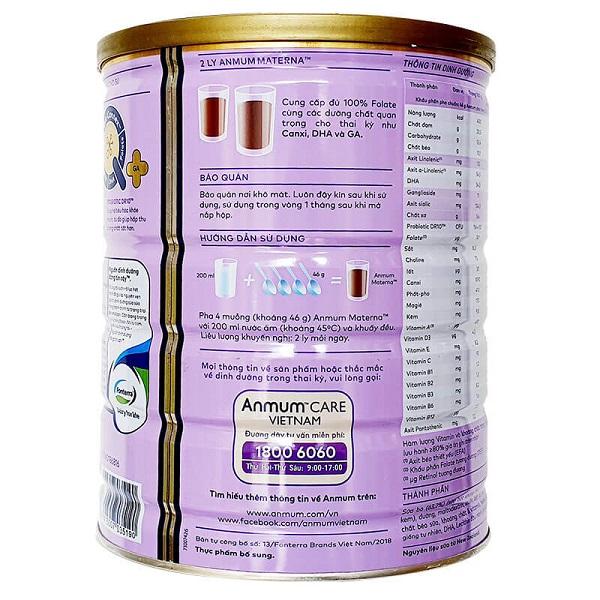 Sữa bột Anmum Materna vị socola của New Zeland cho phụ nữ mang thi và cho con bú hộp 800g