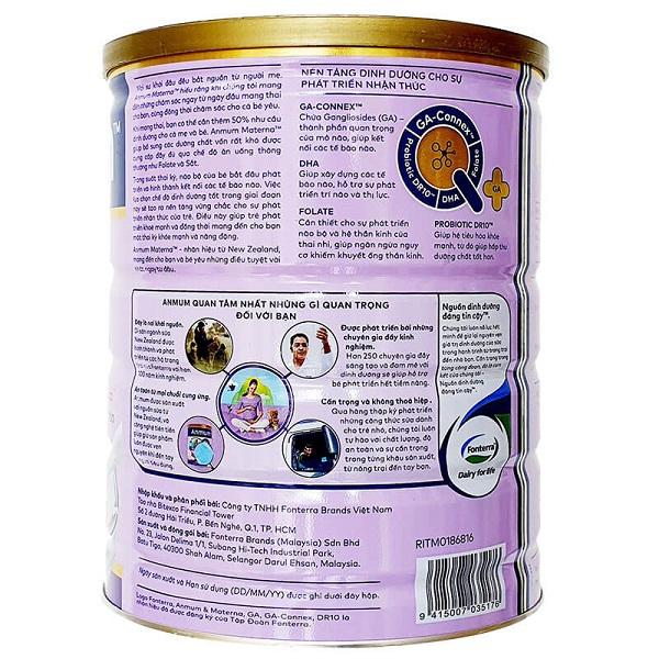 Sữa bột Anmum Materna vị vani của New Zeland cho phụ nữ mang thi và cho con bú hộp 800g