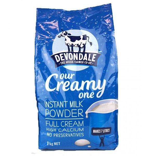 Sữa tươi nguyên kem dạng bột Devondale Instant Milk Powder Full Cream của Úc gói 1kg