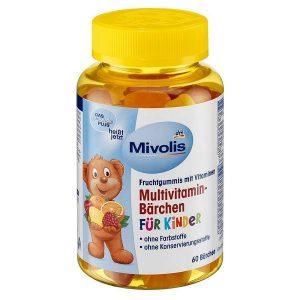Kẹo gấu bổ sung vitamin tổng hợp cho trẻ vị trái cây Mivolis Multivitamin Bärchen của Đức lọ 60 viên