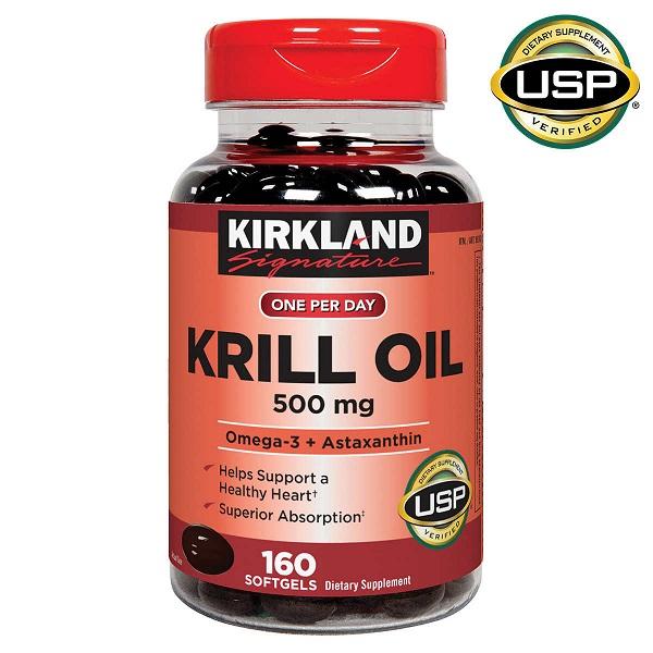 Viên uống dầu tôm hỗ trợ tim mạch Kirkland Signature One Per Day Krill Oil 500mg của Mỹ lọ 160 viên