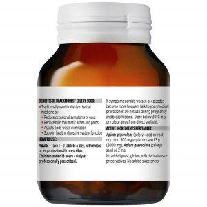 Viên uống phòng và điều trị gout Blackmores Celery 3000 của Úc lọ 50 viên