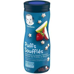 Bánh ăn dặm Gerber Puffs Strawberry Apple vị dâu táo của Mỹ cho trẻ từ 6 tháng tuổi lọ 42g