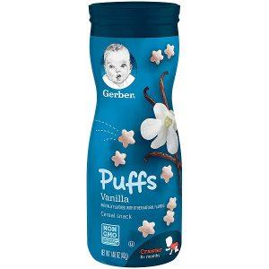 Bánh ăn dặm Gerber Puffs Vanilla vị vani của Mỹ cho trẻ từ 6 tháng tuổi lọ 42g