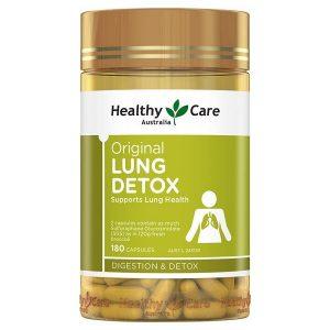 Viên uống giải độc phổi Healthy Care Original Lung Detox của Úc lọ 180 viên