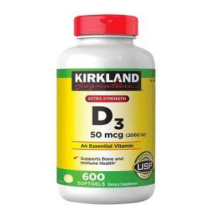 Viên uống vitamin D3 Kirkland Signature D3 của Mỹ hộp 600g