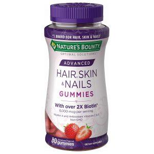 Kẹo dẻo đẹp da, móng và tóc Nature's Bounty Hair Skin And Nails Gummies With Over 2x Biotin của Mỹ lọ 80 viên