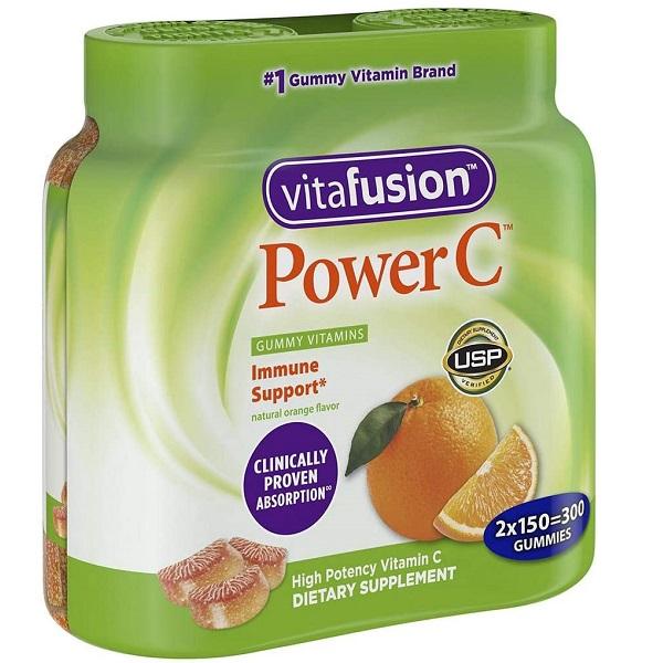 Kẹo dẻo bổ sung vitamin C Vitafusion Power C của Mỹ vỉ 2 lọ150 viên