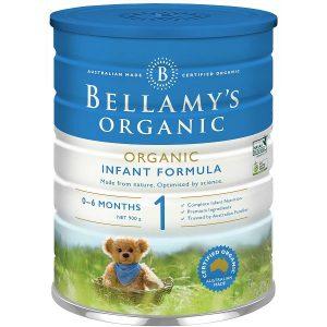 Sữa bột Bellamy's Organic số 1 Organic Infant Formula của Úc cho trẻ từ 0 đến 6 tháng hộp 900g