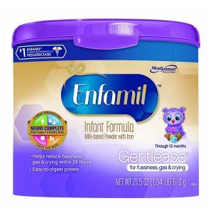 Sữa bột Enfamil Gentlease For Fussiness, Gas & Crying của Mỹ cho trẻ từ 0 đến 12 tháng hộp 610g