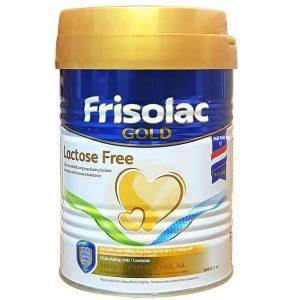 Sữa bột Frisolac Gold Lactose Free của Hà Lan cho trẻ từ 0 đến 12 tháng hộp 400g