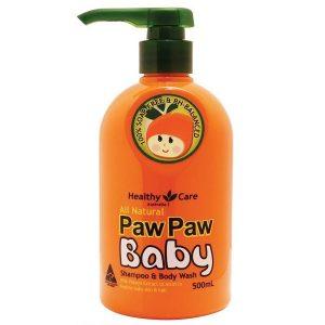 Sữa tắm gội 2 in 1 cho bé Healthy Care Paw Paw Baby của Úc chai 500ml