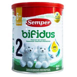Sữa bột Semper Bifidus số 2 của Nga chống táo bón cho trẻ từ 6 đến 12 tháng hộp 400g