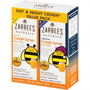Siro ho ngày và đêm Zarbee's Naturals Cough Syrup Dark Honey Day & Night Cough Value Pack của Mỹ cho trẻ từ 1 đến 12 tuổi set 2 chai 118ml