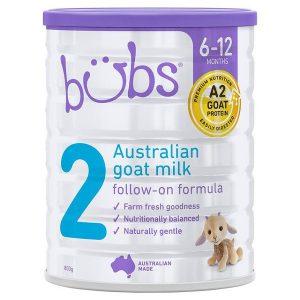 Sữa dê Bübs Australian Goat Milk số 2 của Úc cho trẻ từ 6 đến 12 tháng hộp 800g