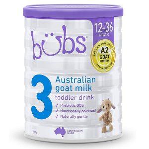 Sữa dê Bübs Australian Goat Milk số 3 của Úc cho trẻ từ 1 đến 3 tuổi hộp 800g