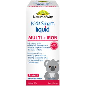 Siro bổ sung sắt và vi chất cho bé Nature's Way Kids Smart Liquid Multi + Iron của Úc lọ 200ml