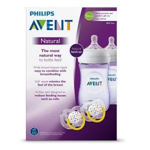 set 2 bình sữa Avent Natural 260ml và 2 ti ngậm